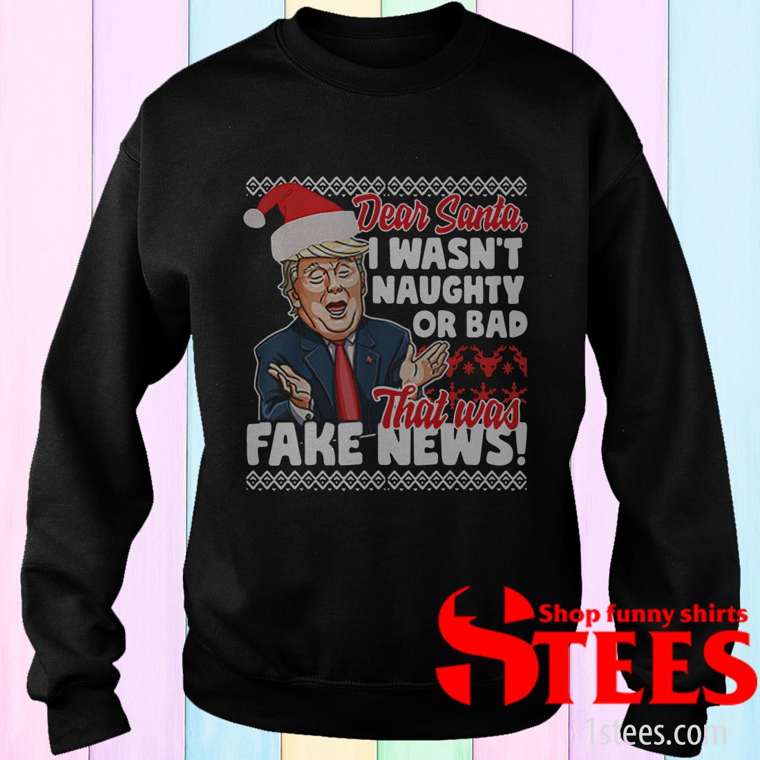 Donald Trump Fake News Ugly Christmas Sweatshirt