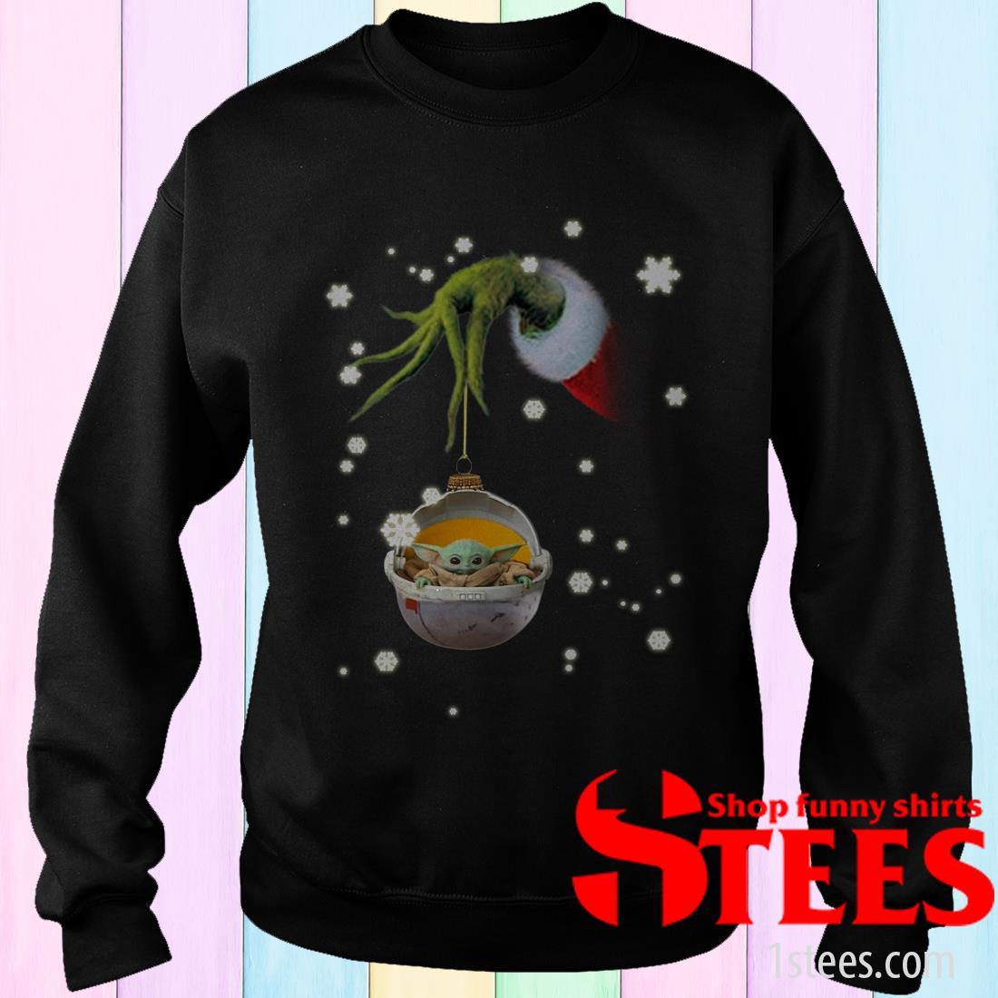 Grinch Hand Holding Baby Yoda Christmas Sweatshirt