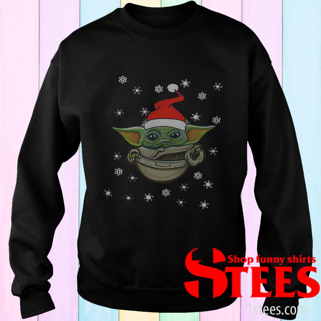 Santa Baby Yoda Snow Merry Christmas Sweatshirt