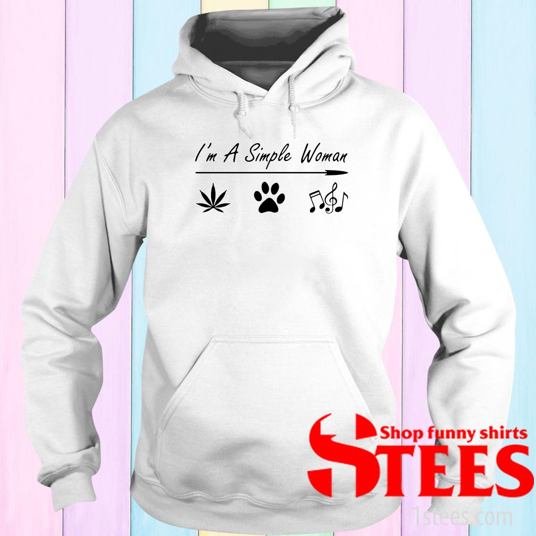 I'm A Simple Woman Cannabis Dog And Music Shirt