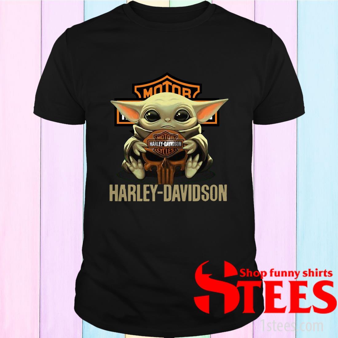 Baby Yoda Hug Harley Davidson Shirt