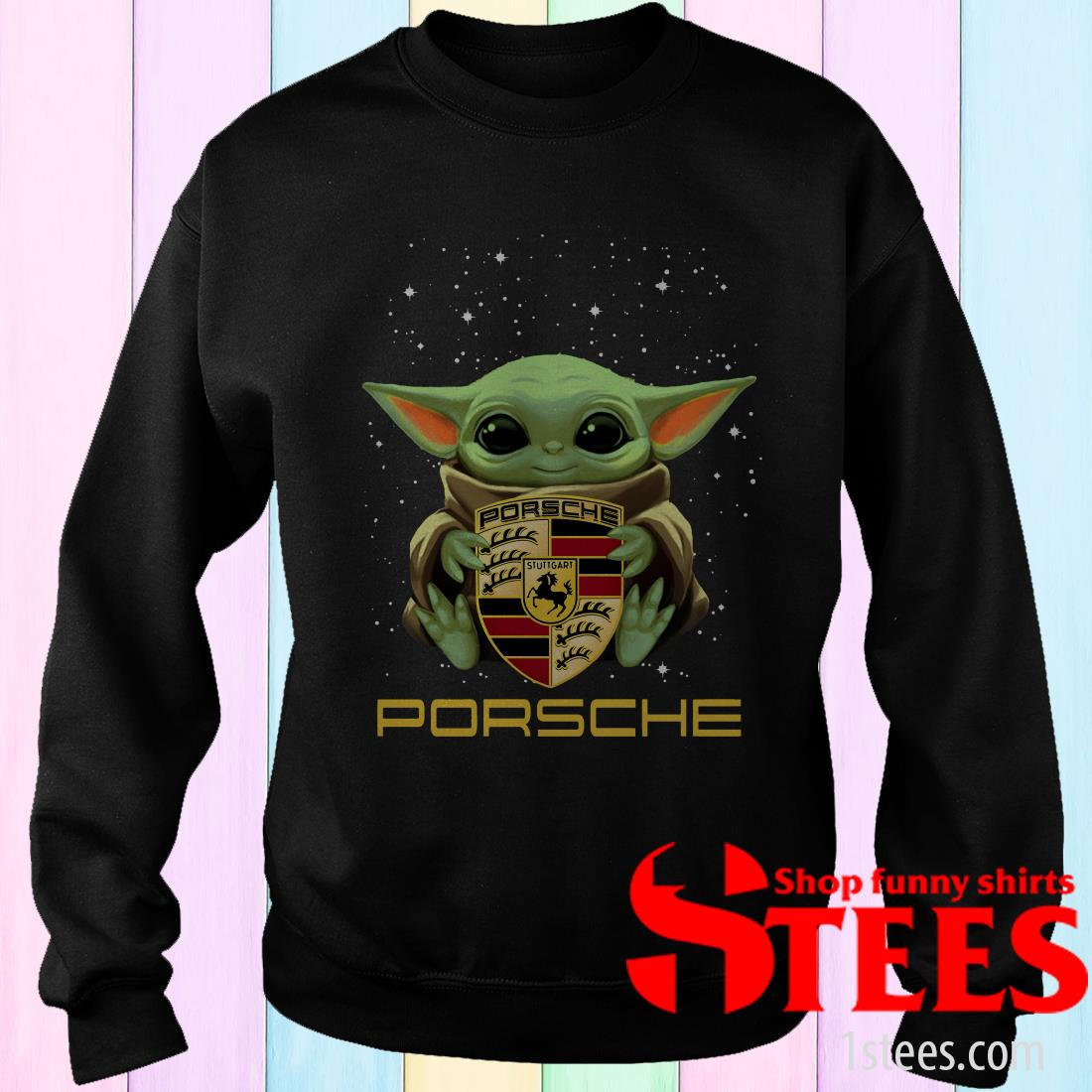 Star Wars Baby Yoda Hug Porsche Ag Logo Shirt