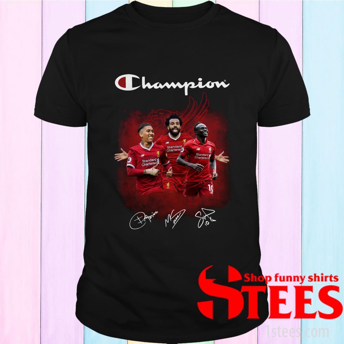 Roberto Firmino Mohamed Salah Sadio Mane Champions Shirt