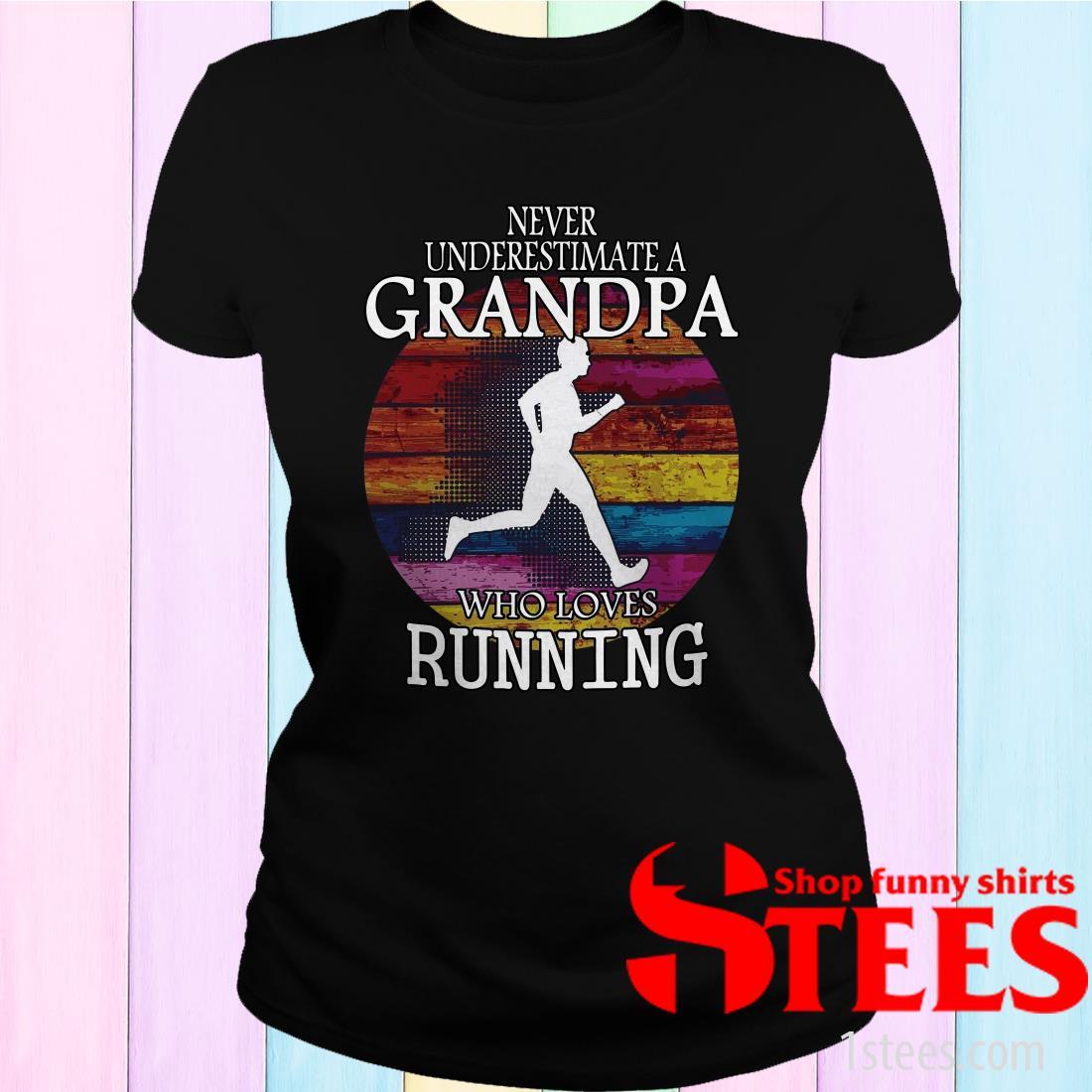 Never Underestimate A Grandma Who Loves Running Vintage Women's T-Shirt
