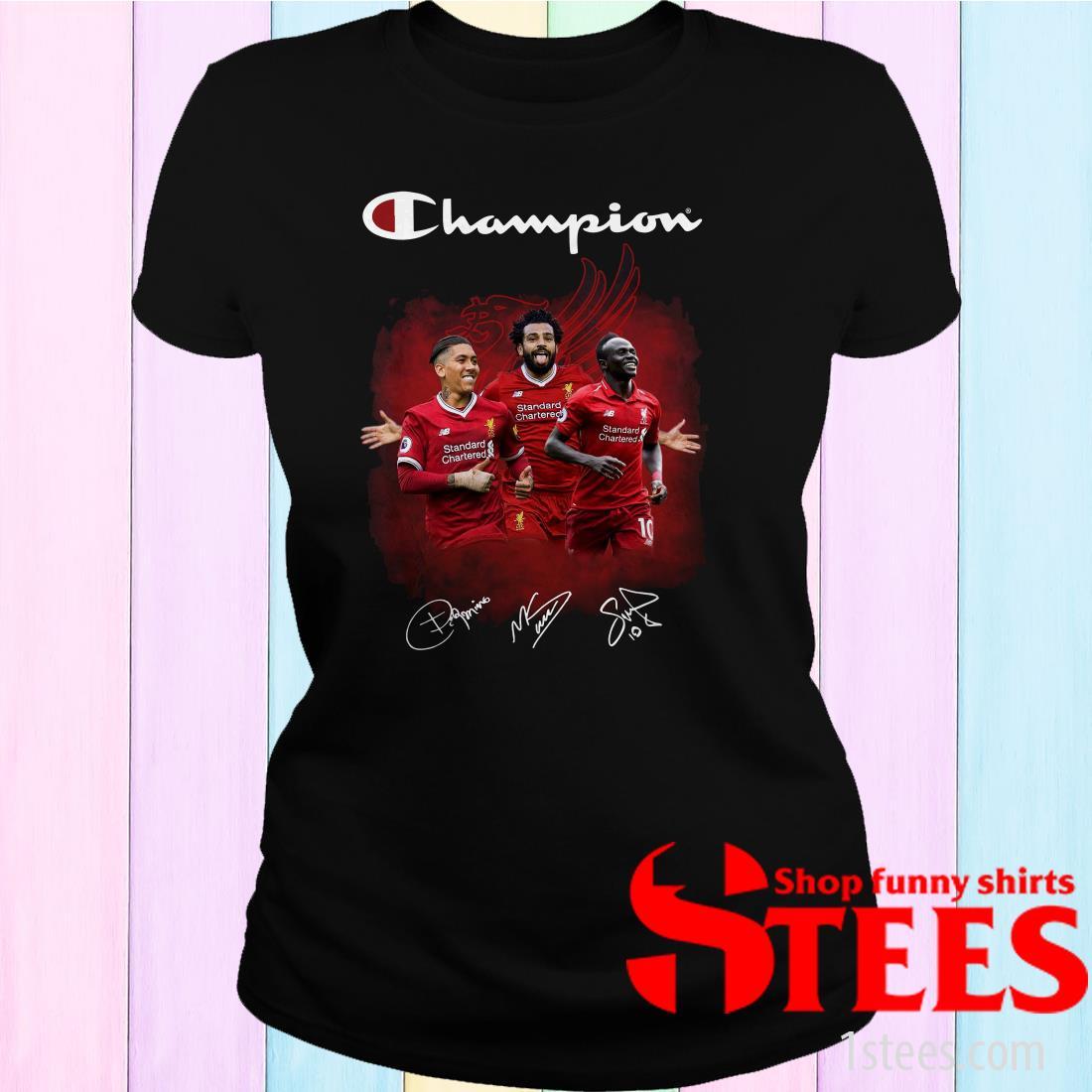 Roberto Firmino Mohamed Salah Sadio Mane Champions Women's T-Shirt
