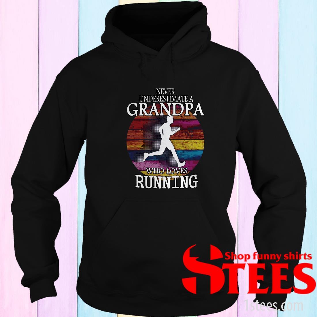 Never Underestimate A Grandma Who Loves Running Vintage Hoodie