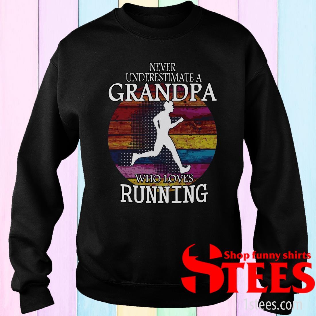 Never Underestimate A Grandma Who Loves Running Vintage Sweatshirt