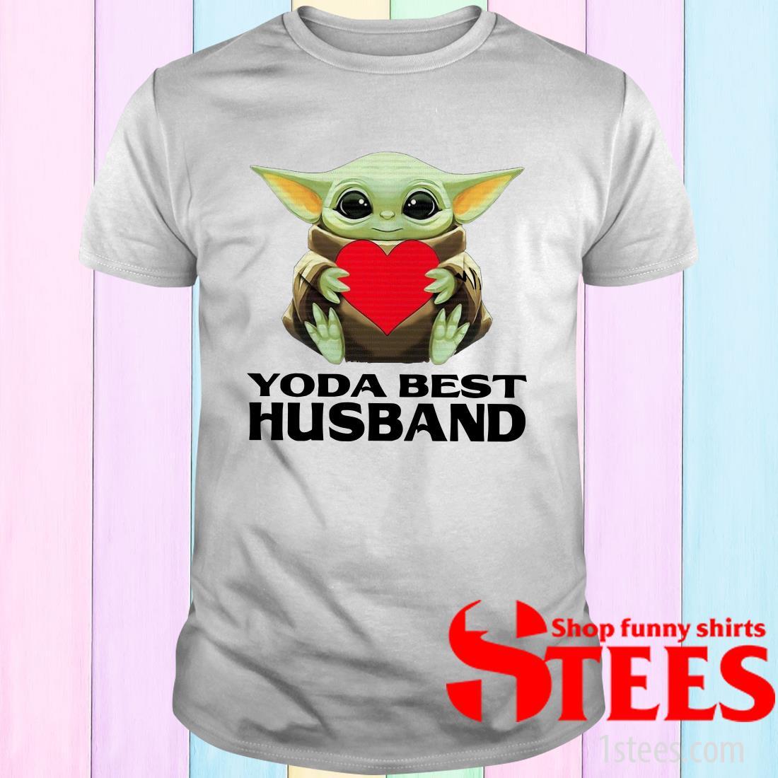 Star Wars Baby Yoda Hug Heart Best Husband Shirt