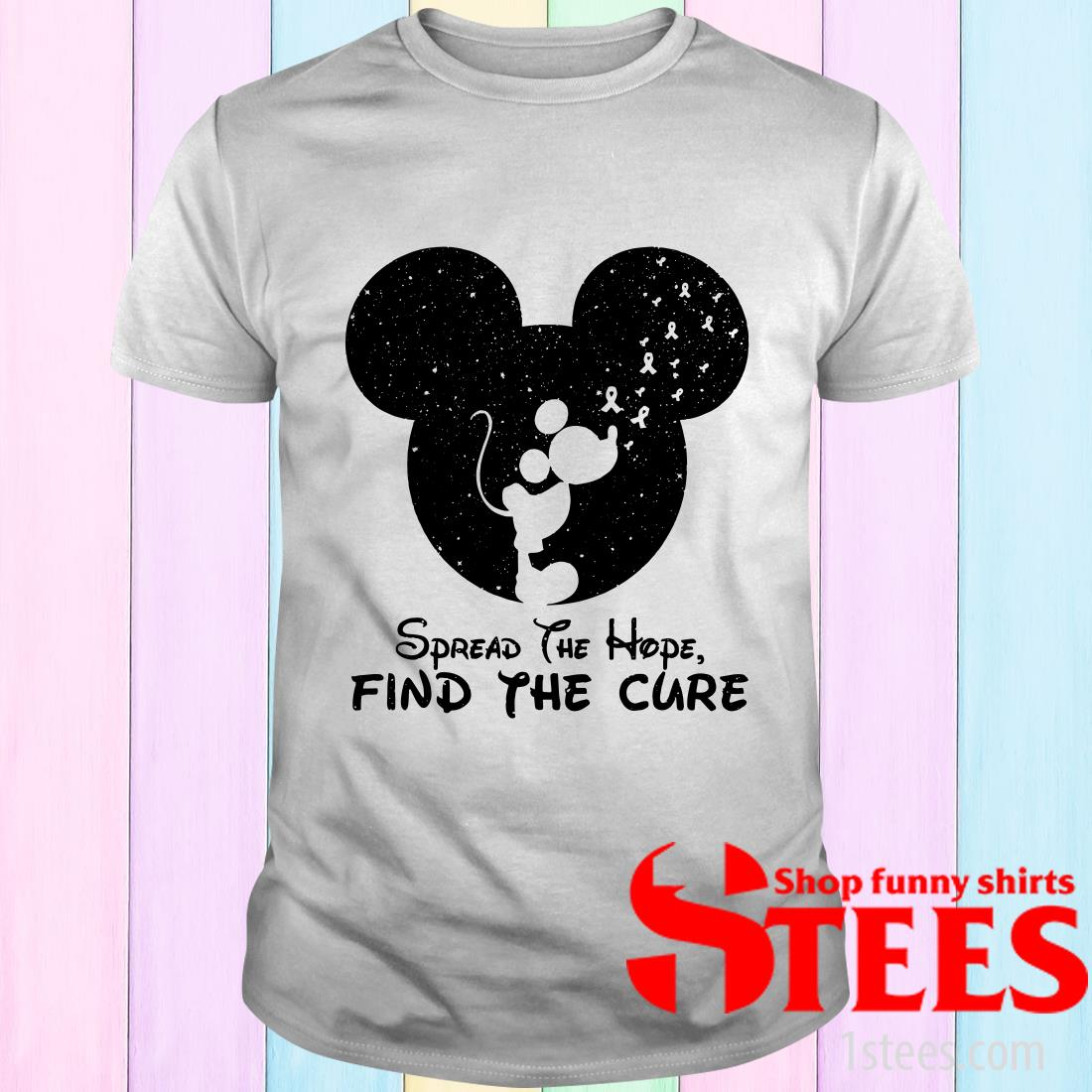 Spread The Hope Find The Cure Breast Cancer Awareness Mickey Mouse T-Shirt