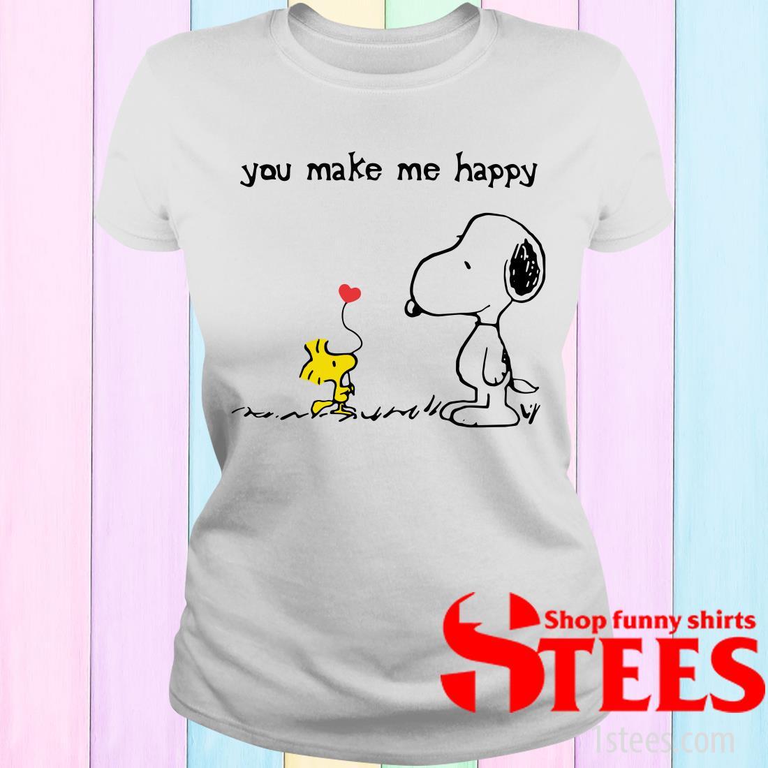 Snoopy Woodstock You Make Me Happy Women's T-Shirt