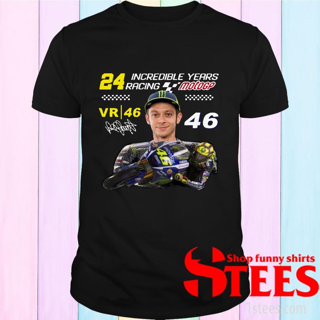 24 Incredible Years Racing Motogp Vr46 Signature Valentino Rossi Shirt