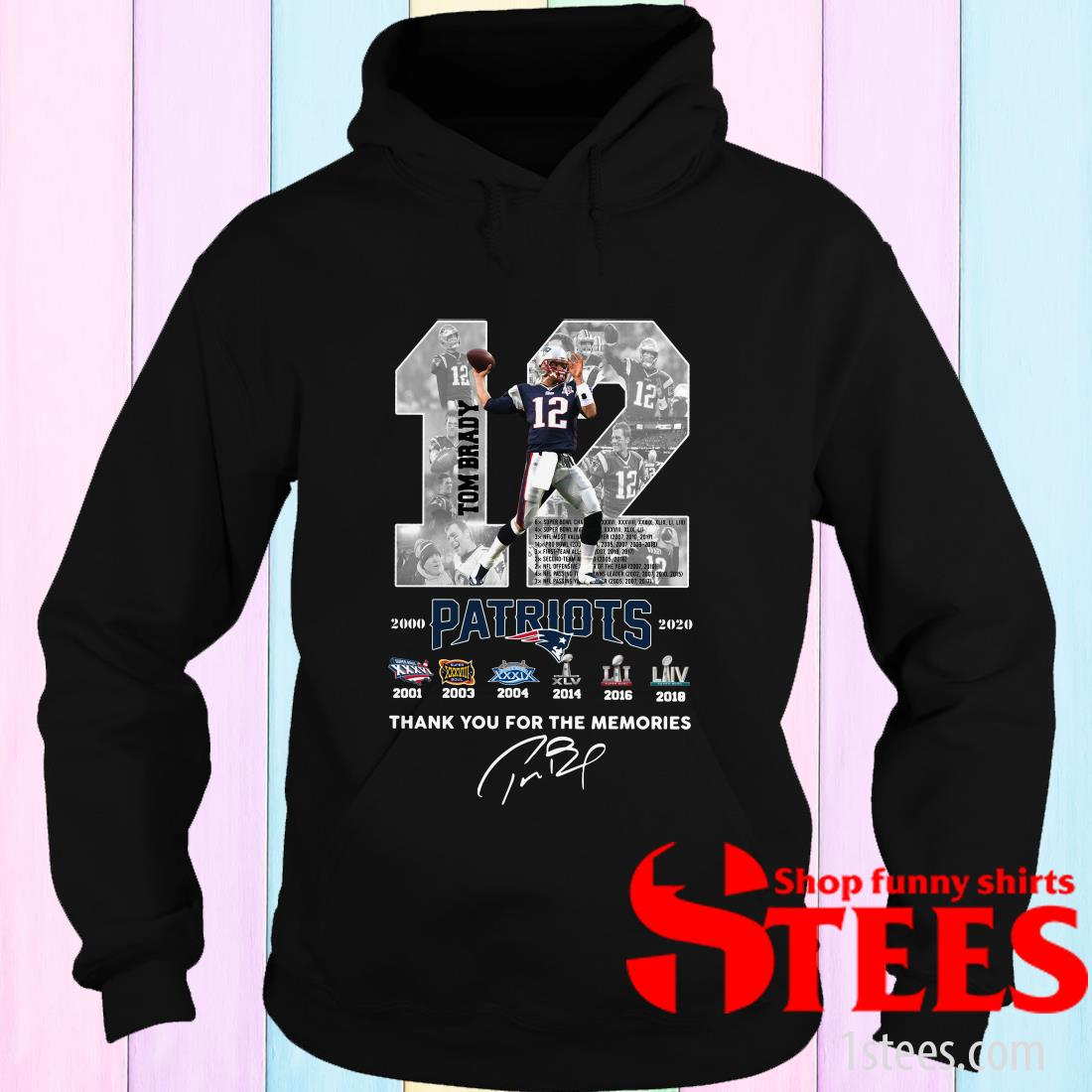 12 Tom Brady Patriots Thank You For The Memories Signature Hoodies
