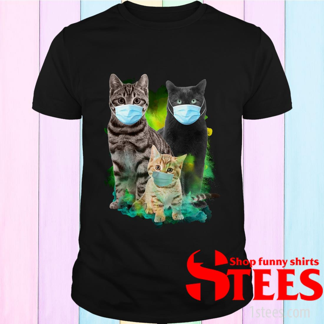 Cats Face Mask Coronavirus tee shirt