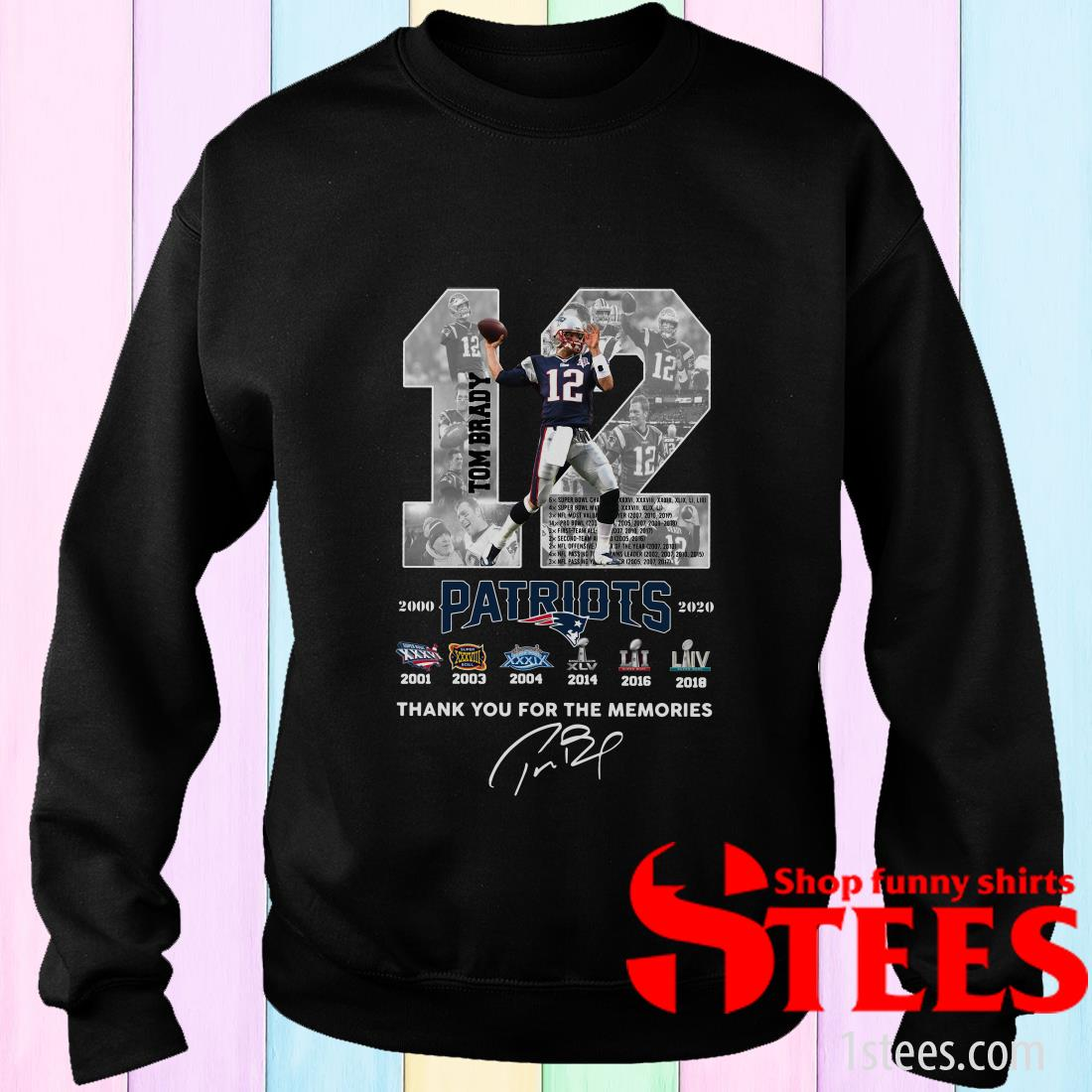 12 Tom Brady Patriots Thank You For The Memories Signature Sweater