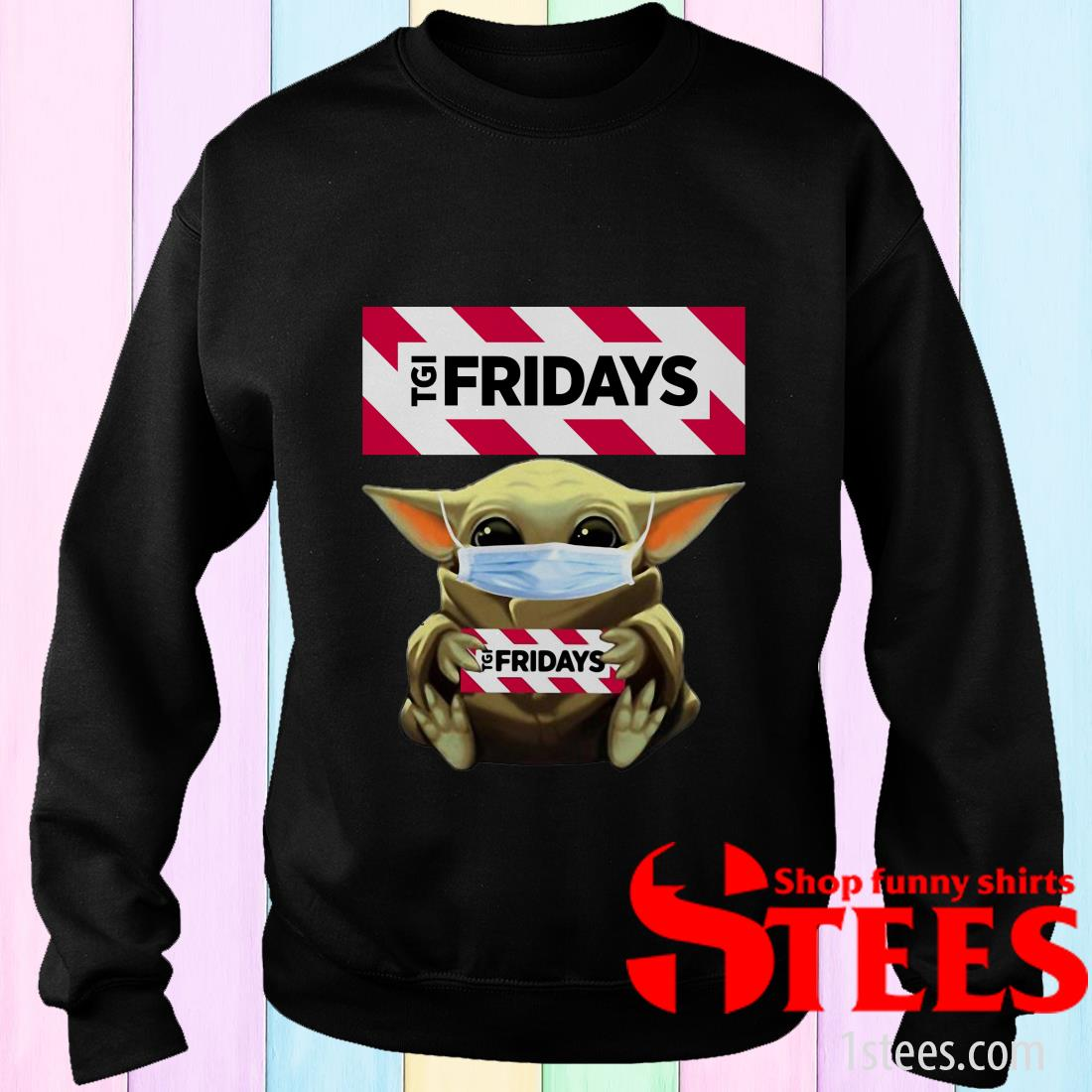 Star Wars Baby Yoda Hug TGI Fridays Covid-19 Sweater