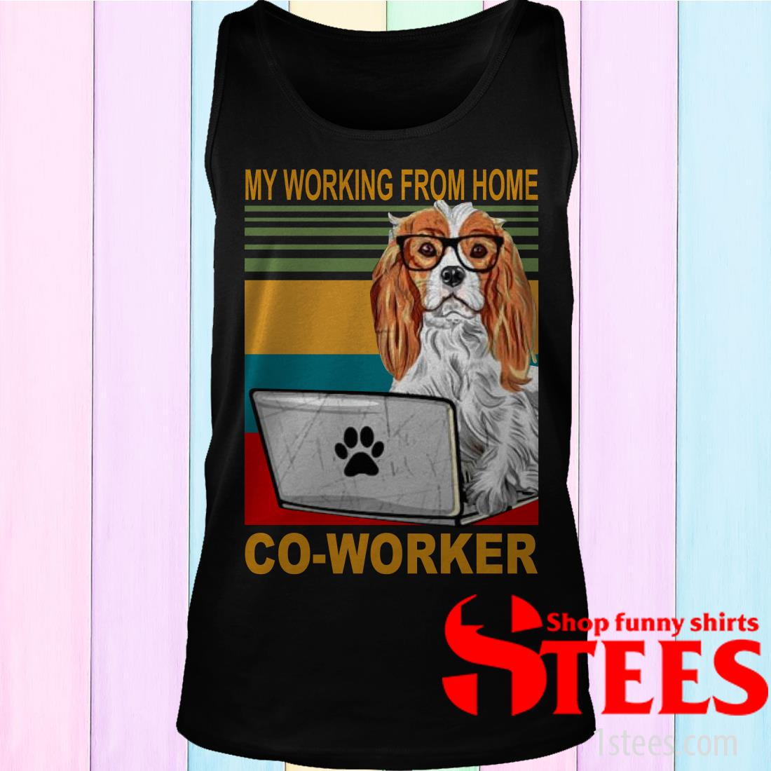 Vintage Cavalier King Charles Spaniel My Working From Home Co-Worker Shirt