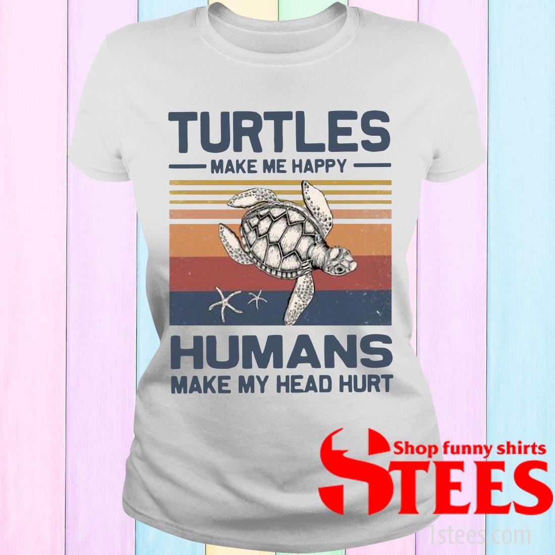 Turtles Make Me Happy Humans Make My Head Hurt Vintage Women's T-Shirt