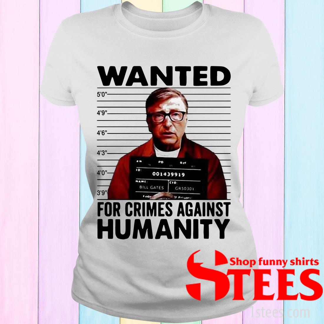 Wanted For Crimes Against Humanity Bill Gate Sunset White Women's T-Shirt