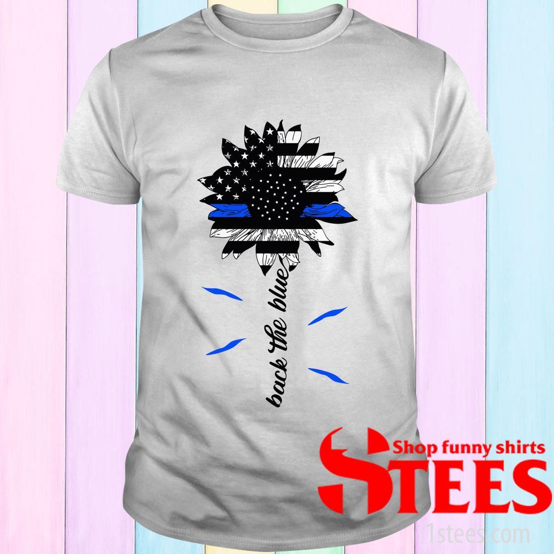 Sunflower American Flag Back The Blue T-Shirt
