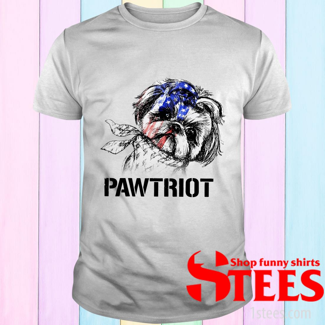 Shih Tzu Pawtriot 4th Of July Independence Day T-Shirt