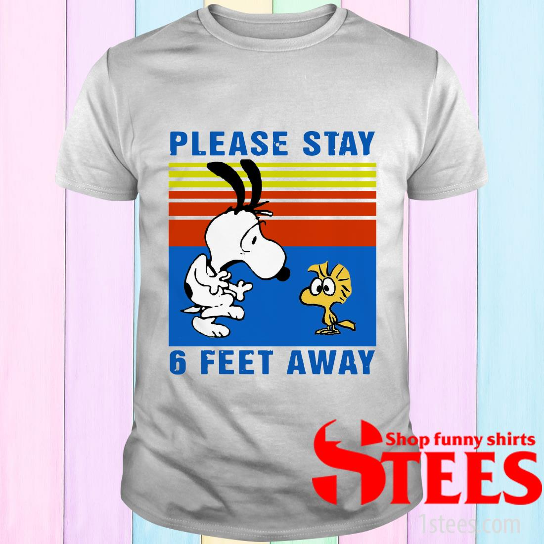 Vintage Snoopy And Woodstock Please Stay 6 Feet Away Black T-Shirt