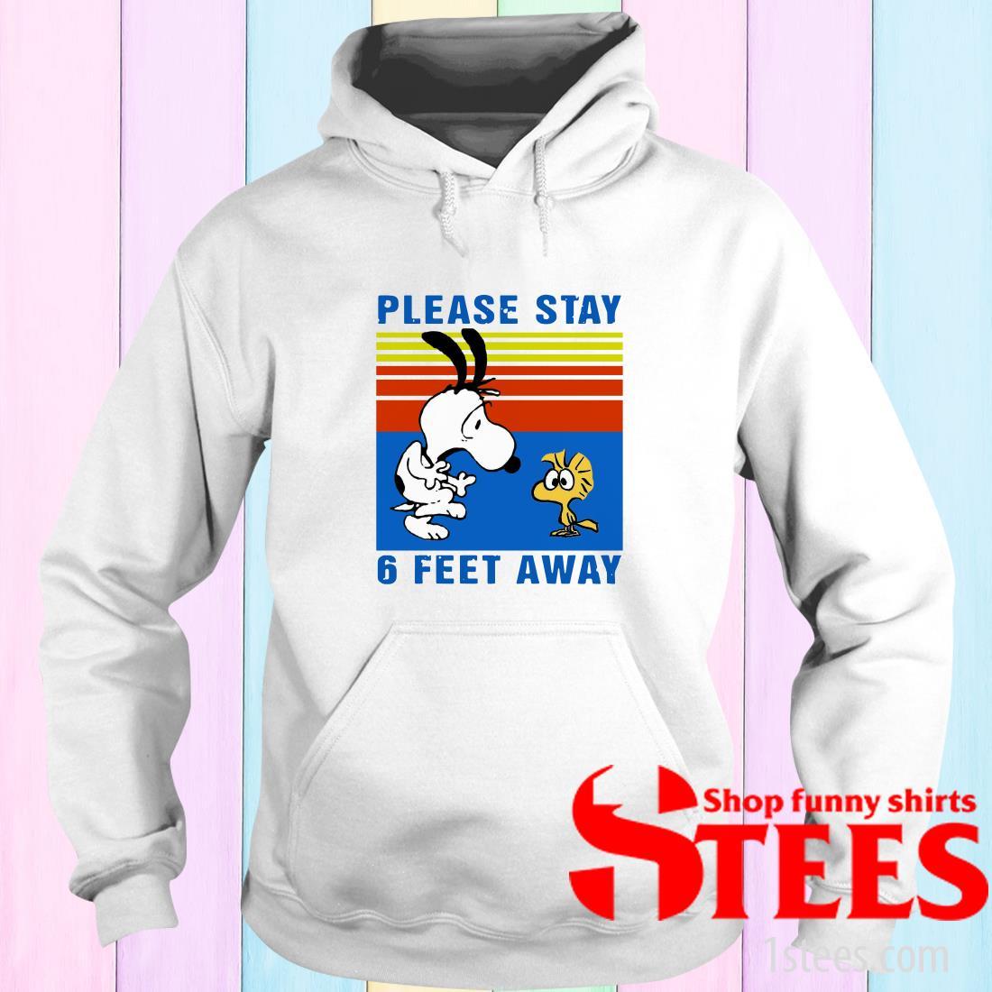 Vintage Snoopy And Woodstock Please Stay 6 Feet Away Black Hoodies