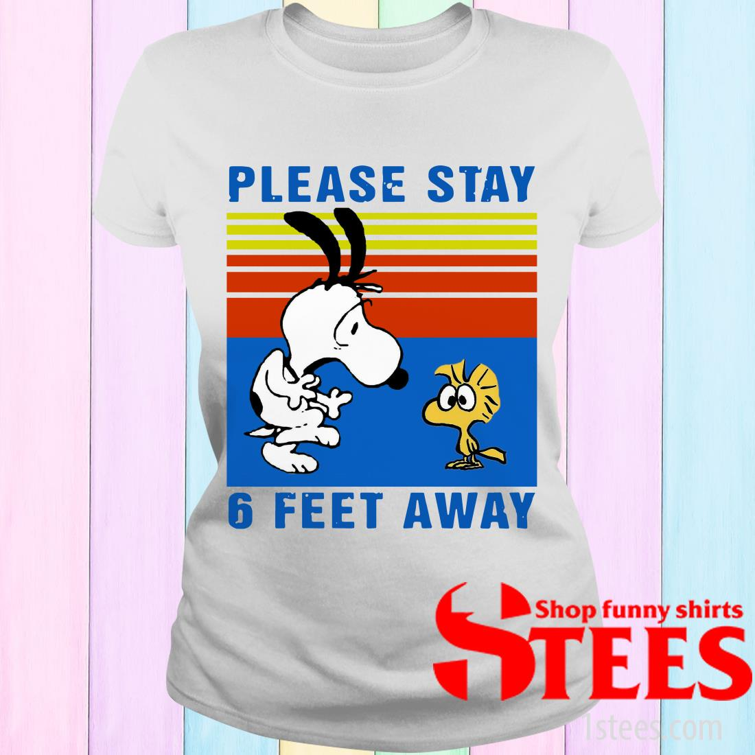 Vintage Snoopy And Woodstock Please Stay 6 Feet Away Black Women's T-Shirt