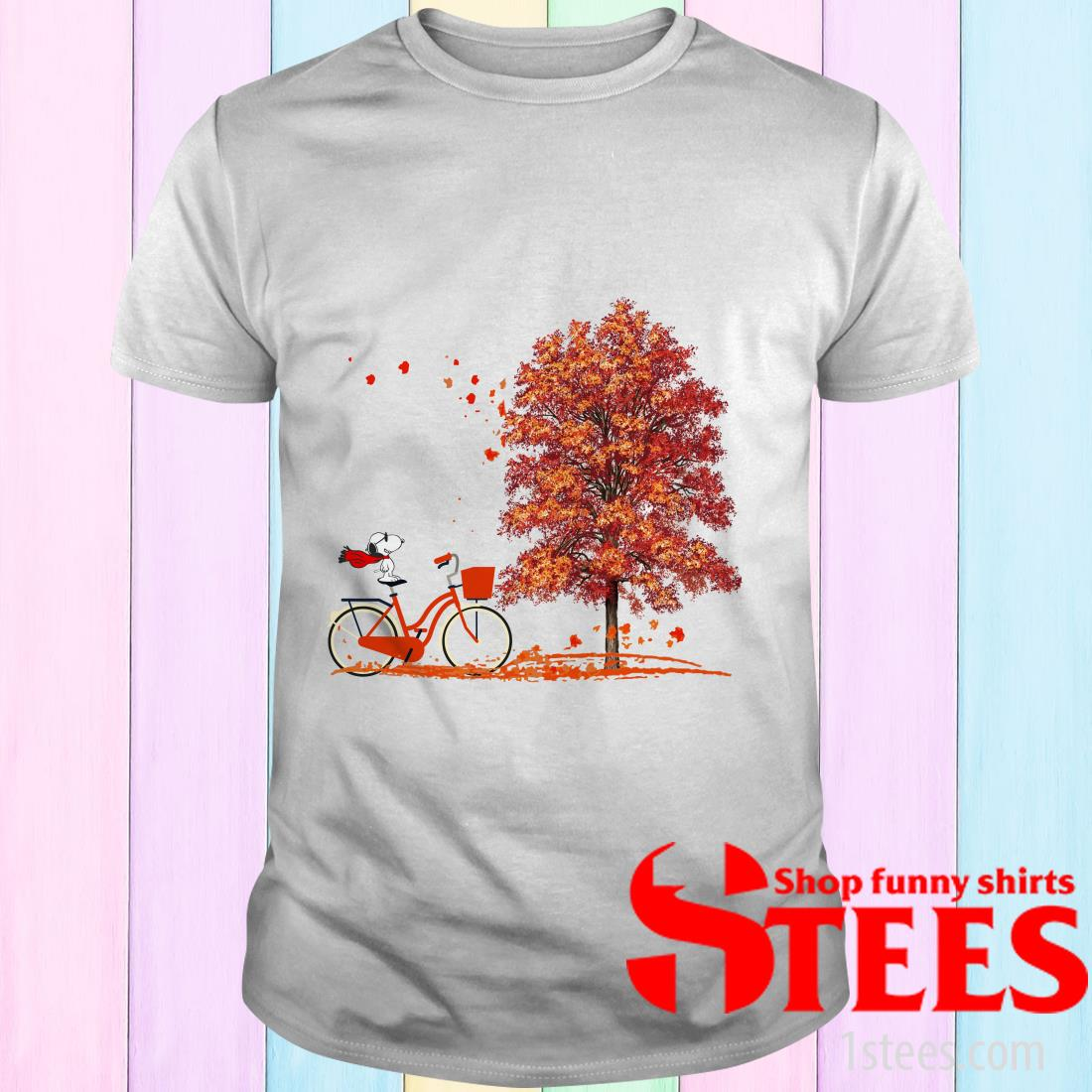 Snoopy Riding A Bicycle Hello Autumn Shirt
