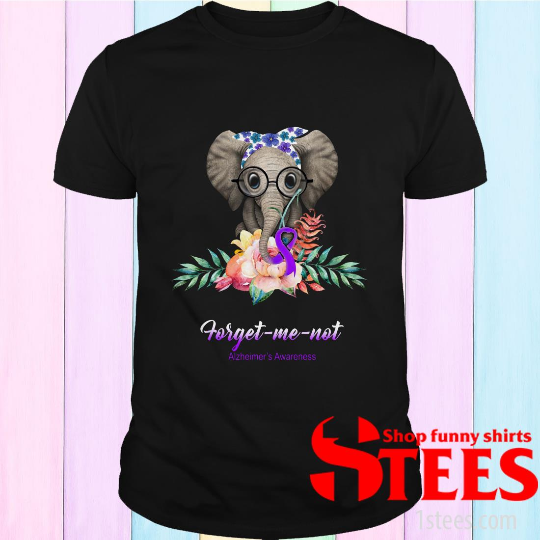 Elephant Bow Lovely Forget Me Not Alzheimers Awareness T-Shirt