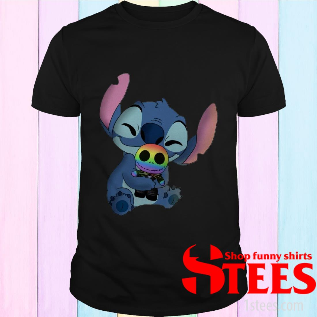 Baby Stitch Hug Baby Jack Skellington LGBT T-Shirt