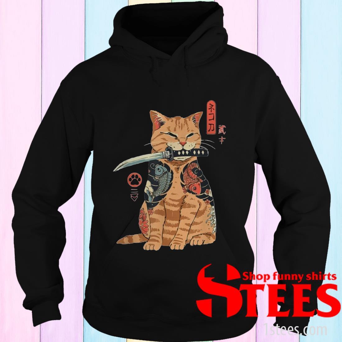 Cat Sitting with Katana Japanese Samurai Cat Hoodies