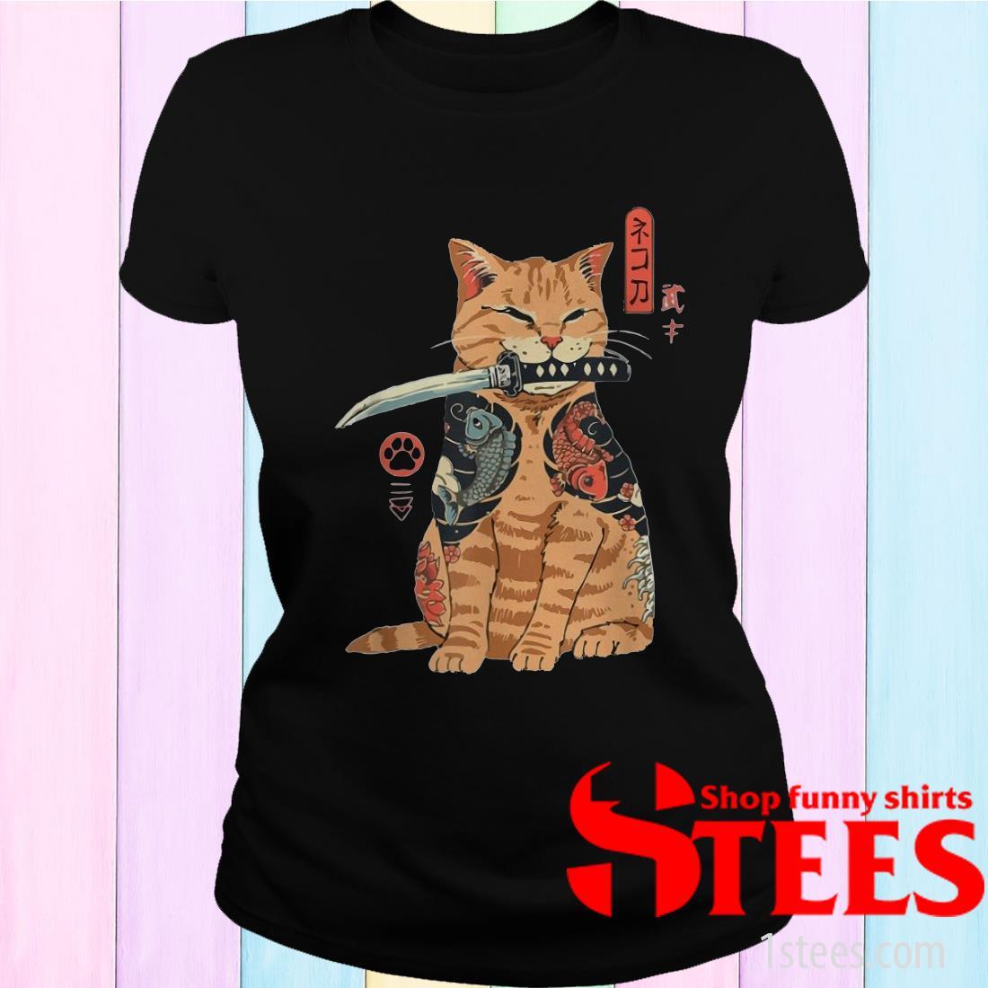 Cat Sitting with Katana Japanese Samurai Cat Women's T-Shirt