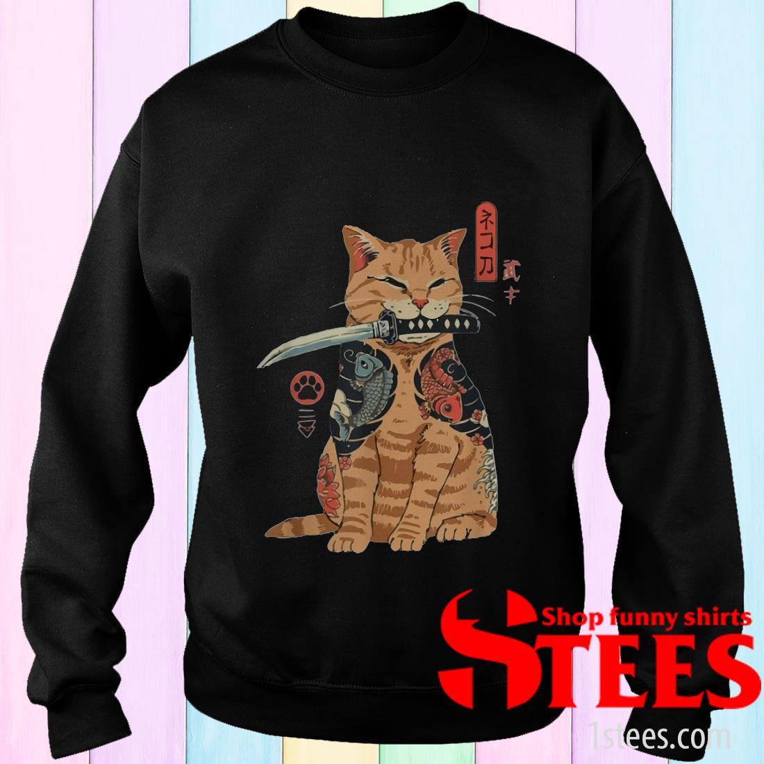 Cat Sitting with Katana Japanese Samurai Cat Sweater