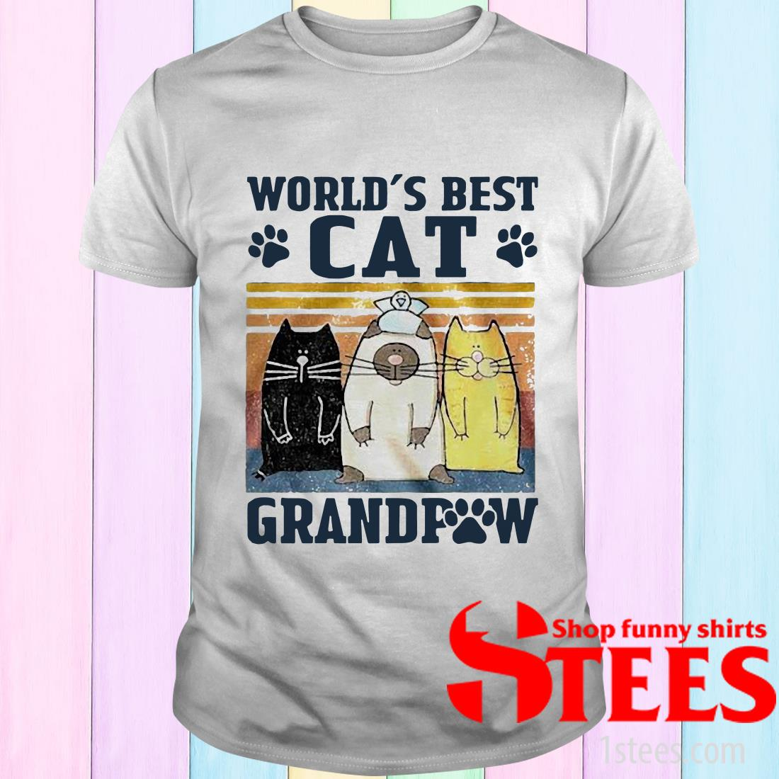 World's Best Cat Grandpaw Vintage T-Shirt