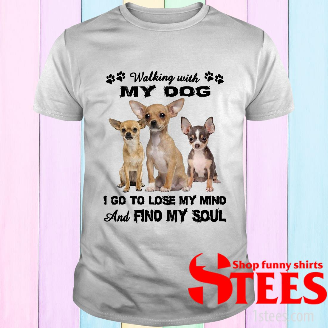Chihuahua Walking With My Dog I Go To Lose My Mind And Find My Soul T-Shirt