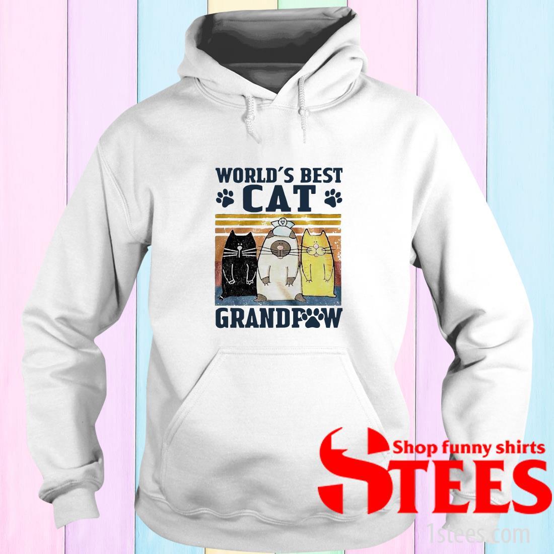 World's Best Cat Grandpaw Vintage Hoodies