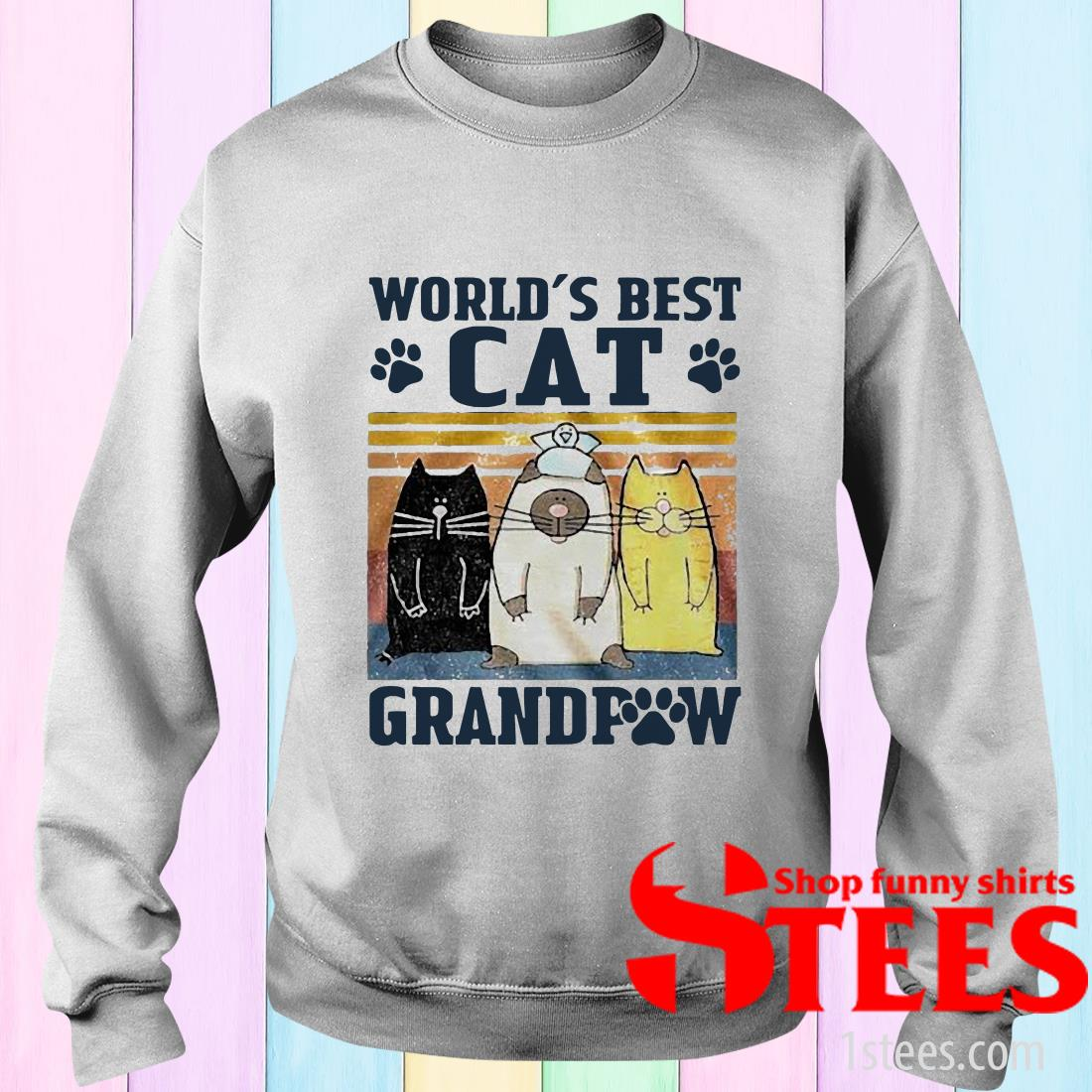 World's Best Cat Grandpaw Vintage Sweater
