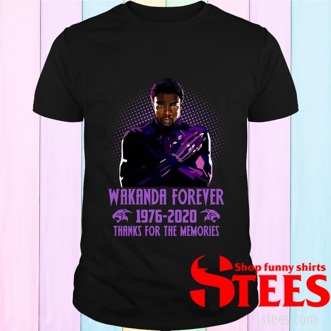Chadwick Boseman Wakanda Forever 1976 2020 Thanks For The Memories Shirt