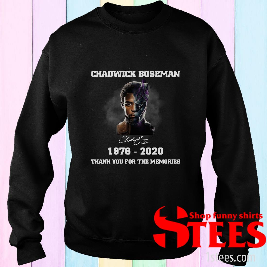 Chadwick Boseman Signature 1976-2020 Thank You For The Memories Sweater